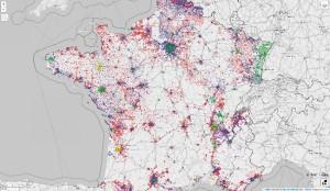 État des intégrations au 20 mai 2014 : en jaune, les données issues de l'open data, en vert, celles venant d'OSM, en bleu, celles récupérées du cadastre vectoriel, en rouge, les zones où les rapprochements n'ont pas encore été effectués.