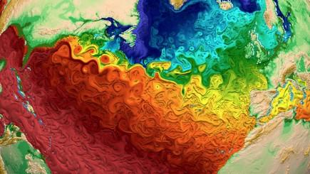 Représentation sous ParaView des températures de la surface de l'eau, l'effet de texture rendant compte des mouvements tourbillonnaires (© Los Alamos National Laboratory)