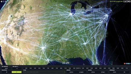 Cette démonstration accessible en ligne donne une idée des fonctionnalités de la prochaine version de LuciadRIA 3D. Vous pouvez y manipuler en ligne 3,5 millions de positions d'avions sur une journée représentant 70 000 trajectoires. Visualisation en 3D, zooms et déplacements, sélection de compagnies… tout est calculé à la volée. À tester sur <a href=