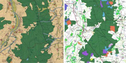 visualisation de l'occupation du sol historique sur les cartes de l'état-major du XIXe siècle mis en parallèle avec la carte IGN : la forêt domaniale de Marcenat dans l'Allier (03) © Géoportail / IGN