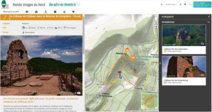 Un écran du nouveau site dédié aux randonnées dans les Vosges à base de Geotreck