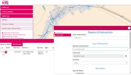 un écran du module de gestion des interventions de KIS