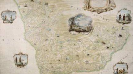 Partie Méridionale de l'Afrique depuis le Tropique du Capricorne jusqu'au Cap de Bonne Espérance (...) dressée pour le Roi sur les observations de M. Le Vaillant par M. de Laborde Carte manuscrite aquarellée, 183 x 267 cm, dpt des Cartes et plans, BnF
