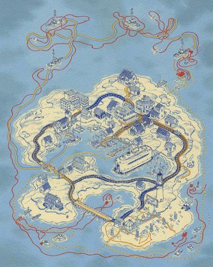 Les dents de la mer en carte, vue par Andrew DeGraaf