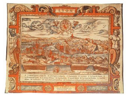 « Lyon, cité opulente » publiée par Nicolas Lefebvre en 1555… l'une des nombreuses cartes décrites par « The History of Cartography » (disponible à la BNF)
