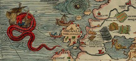 La Carta Marina centrée sur la mer baltique, publiée au XVIe siècle, pleine de créatures extraordinaires et donc, forcément, de dragons !