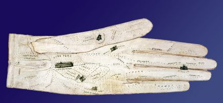 glove-shaped map of London created for the 1851 Great Exhibition by George Shore, 488 New Oxford Street, London. CREDIT: Reproduced by permission of the National Archives of the United Kingdom [BT43/13 75741 1851]