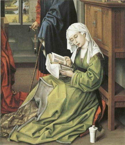 Parmi les moments clés pour la vie privée, le début de la lecture silencieuse, lié à la confession. (« Marie Madeleine lisant » de Rogier van der Weyden vers 1438)