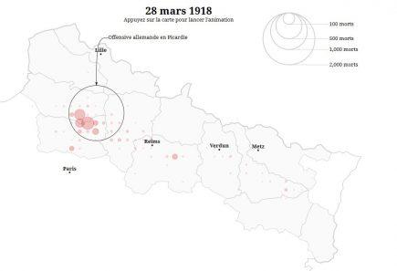 Le Figaro propose une cartographie animée des soldats morts pendant la première guerre mondiale sur le front Nord-Est de la France.