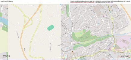 Un simple slider permet de comparer l'état de la base OpenStreetMap entre octobre 2007 et 2019. Ici, un exemple sur Lannion, où la municipalité mise sur OSM depuis 2014.