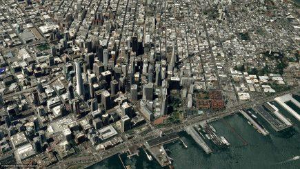 Un exemple d'utilisation possible des images Pléiades : la modélisation 3D de San Francisco (© CNES 2018, Distribution Airbus DS).