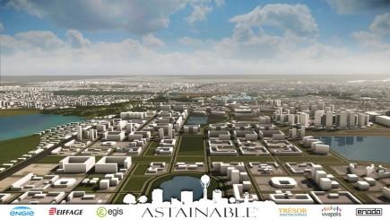 Pour promouvoir la ville durable à la française et ses entreprises, Vivapolis s'appuie sur deux démonstrateurs 3D (Santiago Des3aDo et Astainable) qui laissent une large part à l'information géographique. Ici, un extrait du démonstrateur réalisé par Enodo et ses partenaires sur Astana.