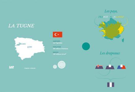 Clara Dealberto et Jules Grandin aiment mettre leurs idées en cartes, même les plus saugrenues. Vous pouvez par exemple tester leur atlas aléatoire des continents imaginaires, qui superpose deux pays (sans réel respect des échelles) et en génère automatiquement le nom et le drapeau.