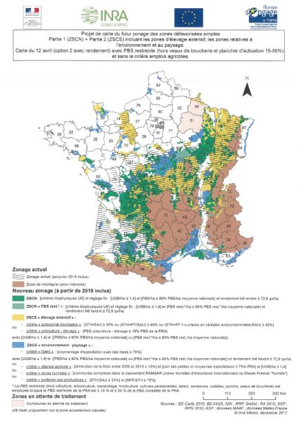 Dernier projet de carte du futur zonage des zones défavorisées simples.