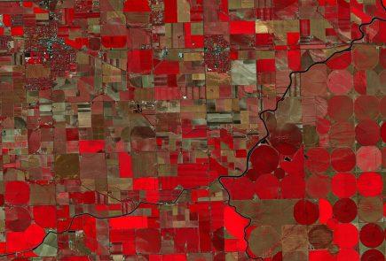 Orage de grêle sur l'Idaho en juillet 2016 dans l'oeil des satellites Planet (image en fausses couleurs)