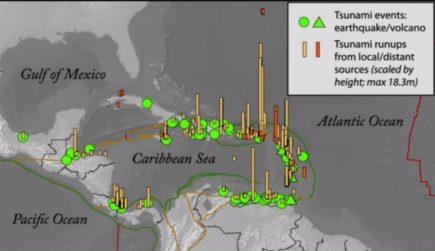 Une cartographie des tsunamis qui ont eu lieu dans la zone caraïbe entre 1493 et 2013