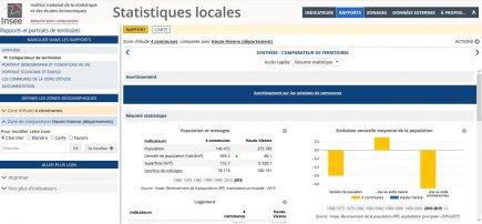 Des portraits synthétiques de territoires personnalisables à l'INSEE.