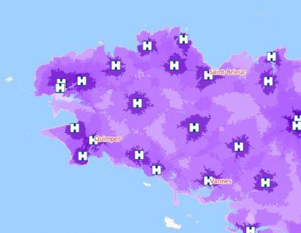 Temps d'accès aux services des urgences par commune (Crédit : GEOCONCEPT)