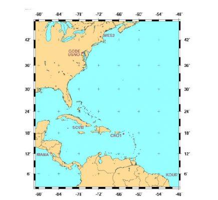 Localisation des stations GNSS internationales (IGS) participant à la mise en œuvre de la réalisation RGAF09