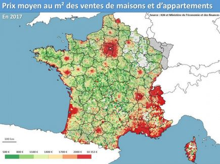 Le découpage en classes met l'accent sur les zones urbaines (en rouge, tout ce qui est au-delà de 2000 €/m2).