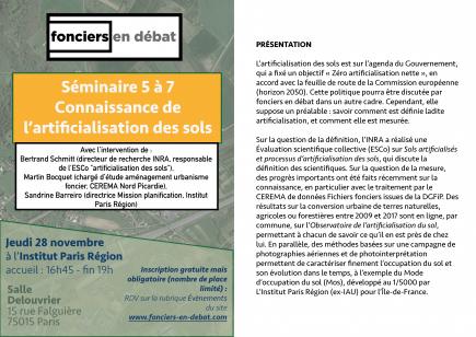 La connaissance de l'artificialisation des sols @ Institut Paris Région